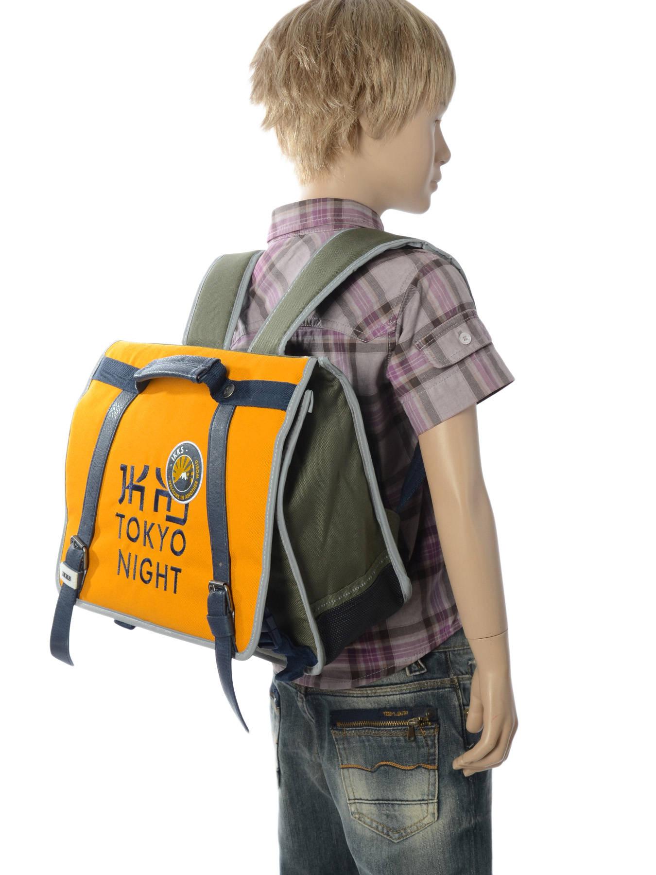 5c9a39dddec ... Boekentas 1 Compartiment Ikks Geel backpacker in tokyo 18-35836 ander  zicht 2 ...