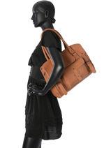 Shoppingtas Vintage Leder Paul marius Zwart vintage RIVGAU-M-vue-porte