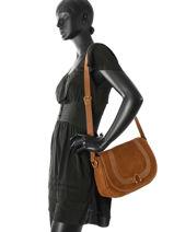 Cross Body Tas Vintage Leder Nat et nin Bruin vintage CLAUDIA-vue-porte