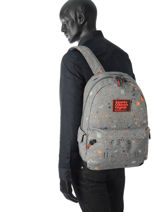 Rugzak 1 Compartiment Superdry Grijs backpack men M91004JQ-vue-porte