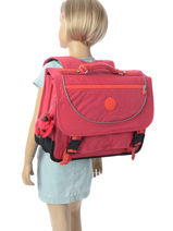 Boekentas 2 Compartimenten Kipling Roze back to school / pbg PBG12074-vue-porte