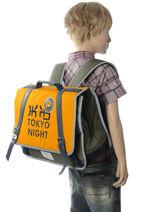 Boekentas 2 Compartimenten Ikks Geel backpacker in tokyo 18-38836-vue-porte