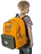 Rugzak 2 Compartimenten Ikks Geel backpacker in tokyo 18-63836-vue-porte