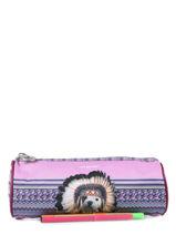 Pennenzak 1 Compartiment Teo jasmin Violet teo apache TAI10003-vue-porte