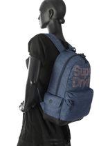 Rugzak 1 Compartiment Superdry Blauw backpack woomen G91007MR-vue-porte