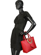 Handtas Parisienne Gloria Leder Lancaster Rood parisienne gloria 432-22-vue-porte
