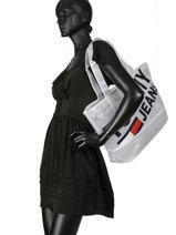 Semi-transparante Shopper A4 Tommy Jeans Tommy hilfiger Wit tju AU00590-vue-porte