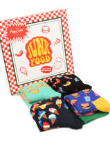 Cadeaukoffer Junk Food Happy socks Zwart pack XFOD09