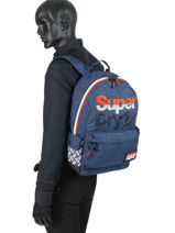 Rugzak 1 Compartiment Superdry Blauw backpack men M91016MT-vue-porte