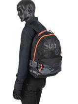 Rugzak 1 Compartiment Superdry Zwart backpack men M91001MT-vue-porte