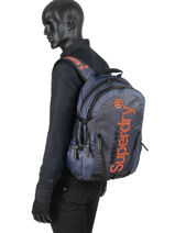 Rugzak 2 Compartimenten Superdry Blauw backpack men M91015MT-vue-porte
