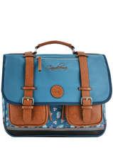 Boekentas 3 Compartimenten Cameleon Blauw vintage print girl VIG-CA41