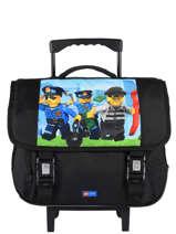 Boekentas Op Wieltjes 2 Compartimenten Lego Zwart city police chopper 10070-35
