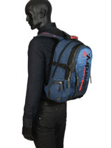 "Rugzak Knip Tarp 2 Compartimenten + Pc15"" Superdry Blauw backpack men M91800JU-vue-porte"