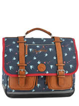 Cartable 2 Compartiments Cameleon Blauw vintage print girl PBVGCA41