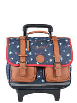 Cartable A Roulettes 2 Compartiments Cameleon Blauw vintage print girl PBVGCR38