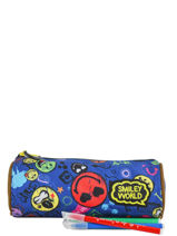 Trousse 1 Compartiment Smiley Blauw study SLX10003-vue-porte