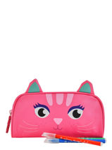 Pennenzak 1 Compartiment Animal Roze kids KIDNI01-vue-porte