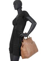 Shoppingtas Nathalie Leder Pieces Bruin nathali 17102051-vue-porte