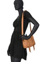 Cross Body Tas Vintage Leder Mila louise Bruin vintage 3017CVS-vue-porte