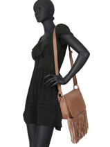 Cross Body Tas Fringes Leder Basilic pepper fringues BFRI03-vue-porte