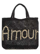 "Shoppingtas ""amour"" Van Jute The jacksons Zwart word bag S-AMOUR"