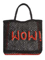 "Shoppingtas ""wow!"" Van Jute The jacksons Zwart word bag S-WOW"