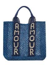 "Shoppingtas ""amour"" Van Jute The jacksons Blauw tessa T-AMOUR"