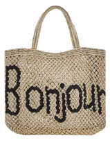 "Shoppingtas ""bonjour"" Van Jute The jacksons Beige word bag S-BONJOU"