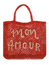 "Shoppingtas ""mon Amour"" Van Jute The jacksons Rood word bag S-MONAMO"
