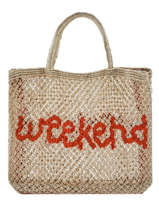 "Shoppingtas ""weekend"" Van Jute The jacksons Beige word bag S-WEEKEN"