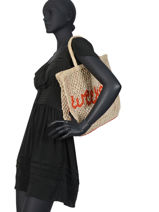 "Shoppingtas ""weekend"" Van Jute The jacksons Beige word bag S-WEEKEN-vue-porte"