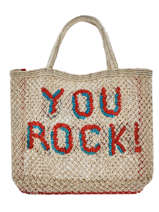 "Shoppingtas ""you Rock!"" Van Jute The jacksons Beige word bag S-YOUROC"