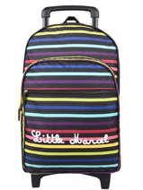 Rugzak Op Wieltjes Stripes Little marcel Zwart school 8870