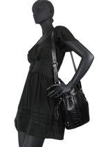 Bucket Bag M Elsa Croco Leder Lancel Zwart elsa A11003-vue-porte