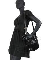 Bucket Bag S Elsa Croco Leder Lancel Zwart elsa A11002-vue-porte
