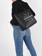 Schoudertas Denim A4-formaat Leder Calvin klein jeans Zwart denim K607647-vue-porte