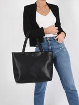 Schoudertas Denim A4-formaat Leder Calvin klein jeans Zwart denim K607478-vue-porte