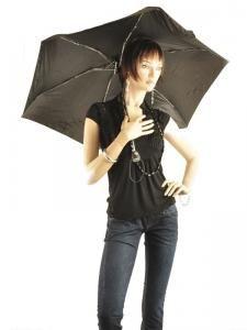 Paraplu Isotoner Zwart auto mini 09145-vue-porte