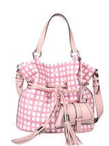 Bucket Bag M Premier Flirt Vichy Leder Lancel Roze premier flirt A11533