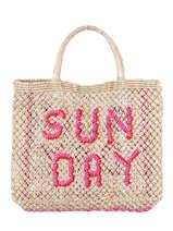 "Shoppingtas ""sunday"" Van Jute The jacksons Roze word bag SUNDAY"
