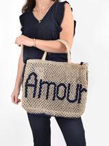 "Shoppingtas ""amour"" Van Jute The jacksons Blauw word bag AMOUR-vue-porte"