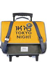 Boekentas Op Wieltjes 2 Compartimenten Ikks Geel backpacker in tokyo 43836