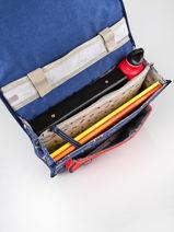 Boekentas Kind 1 Compartiment Cameleon Blauw retro CA32-vue-porte