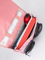 Boekentas Meisje 2 Compartimenten Cameleon Roze vintage fantasy CA38-vue-porte