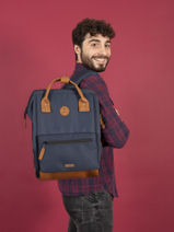Personaliseerbare Rugzak  Cabaia Zwart tour du monde BAGS-vue-porte