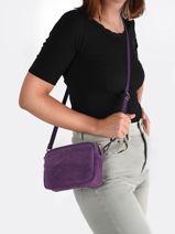 Cross Body Tas Velvet Leder Milano Violet velvet VE19111-vue-porte