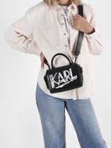 Cross Body Tas K/ikon Mini Leder Karl lagerfeld Zwart k ikon 216W3007-vue-porte